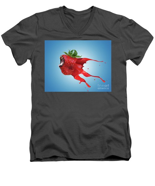 Men's V-Neck T-Shirt featuring the photograph The New Gmo Strawberry by Juli Scalzi