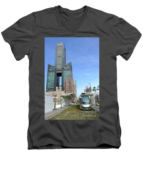Men's V-Neck T-Shirt featuring the photograph The New Kaohsiung Light Rail Train by Yali Shi