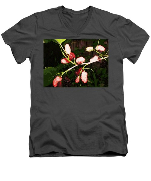 Men's V-Neck T-Shirt featuring the digital art The New Mulberries by Winsome Gunning