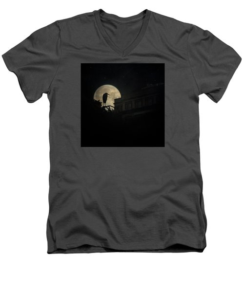 Men's V-Neck T-Shirt featuring the photograph The Night Of The Heron by Chris Lord