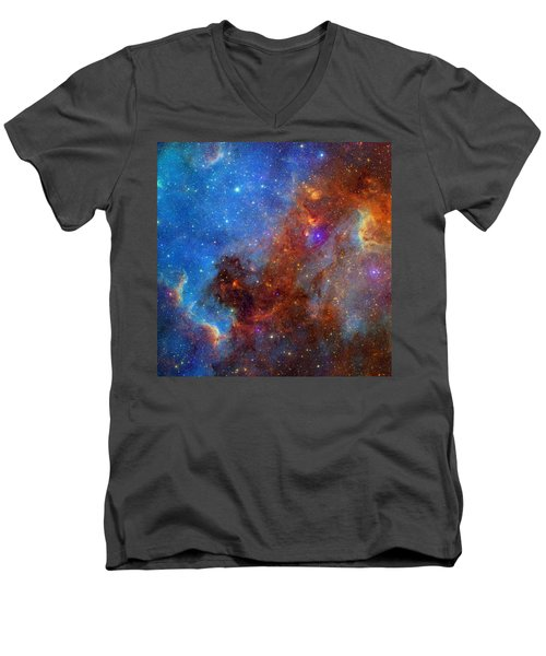 Men's V-Neck T-Shirt featuring the photograph The North America Nebula In Different Lights by NASA JPL - Caltech
