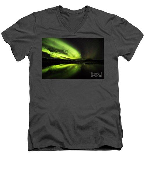 The Northern Lights Thingvellir Men's V-Neck T-Shirt by Gunnar Orn Arnason