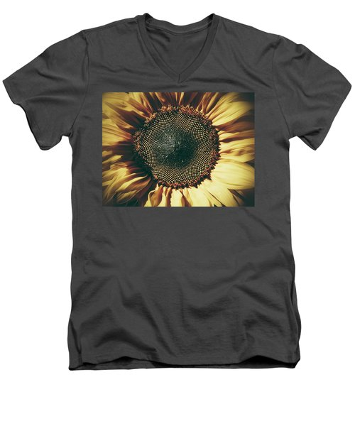 Men's V-Neck T-Shirt featuring the photograph The Not So Sunny Sunflower by Karen Stahlros