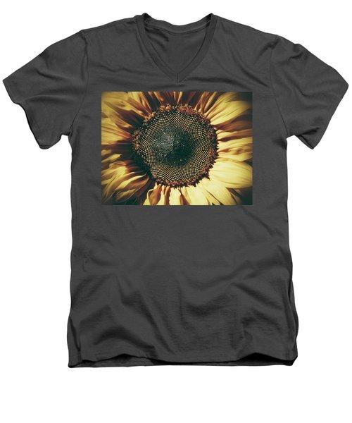 The Not So Sunny Sunflower Men's V-Neck T-Shirt by Karen Stahlros