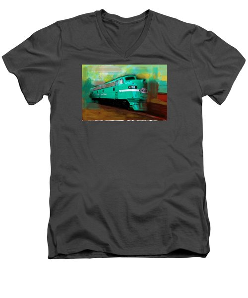 Flash II  The Ny Central 4083  Train  Men's V-Neck T-Shirt by Iconic Images Art Gallery David Pucciarelli