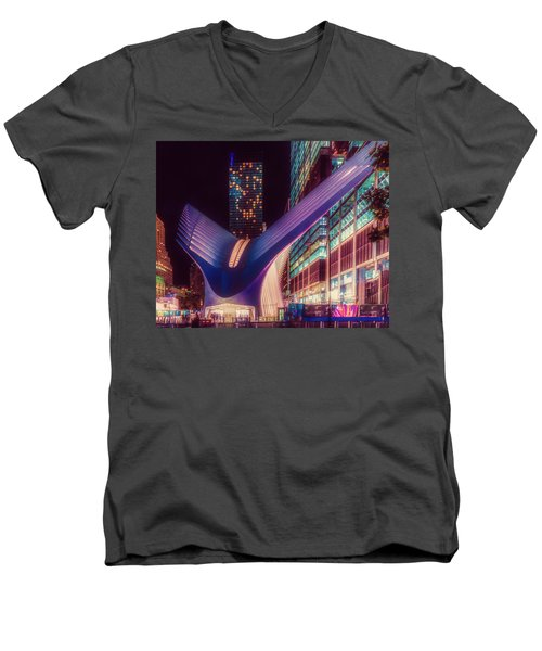 Men's V-Neck T-Shirt featuring the photograph The Occulus At Midnight by Chris Lord