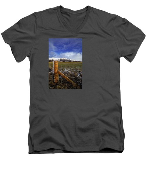 Men's V-Neck T-Shirt featuring the photograph The Ochils In Winter by Jeremy Lavender Photography