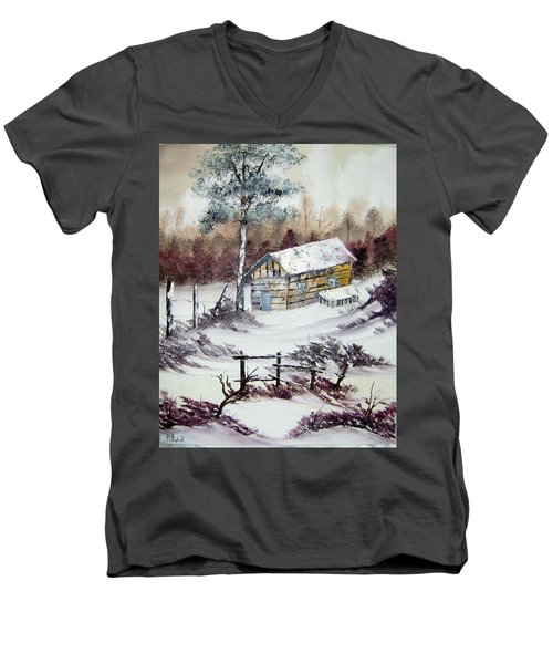 The Old Barn In Winter Men's V-Neck T-Shirt