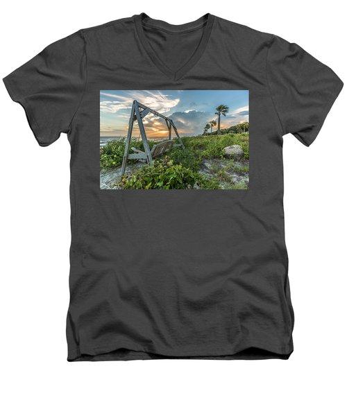 The Old Beach Swing -  Sullivan's Island, Sc Men's V-Neck T-Shirt