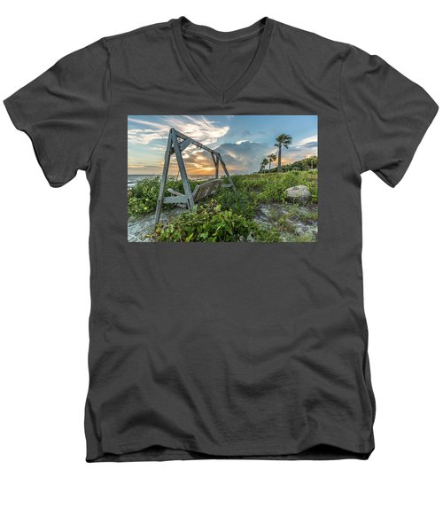 Men's V-Neck T-Shirt featuring the photograph The Old Beach Swing -  Sullivan's Island, Sc by Donnie Whitaker