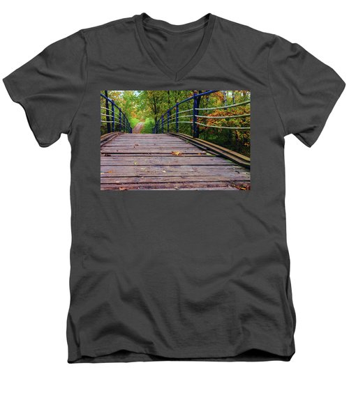 the old bridge over the river invites for a leisurely stroll in the autumn Park Men's V-Neck T-Shirt