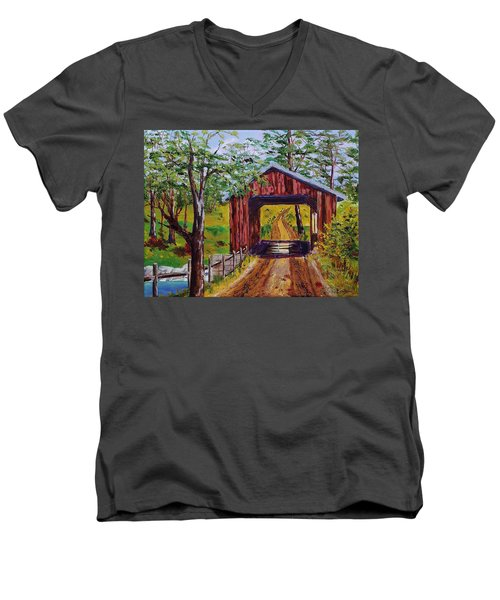 The Old Covered Bridge Men's V-Neck T-Shirt by Mike Caitham