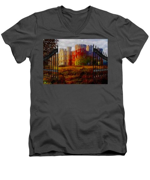 The Old Haunted Castle Men's V-Neck T-Shirt by Michael Rucker