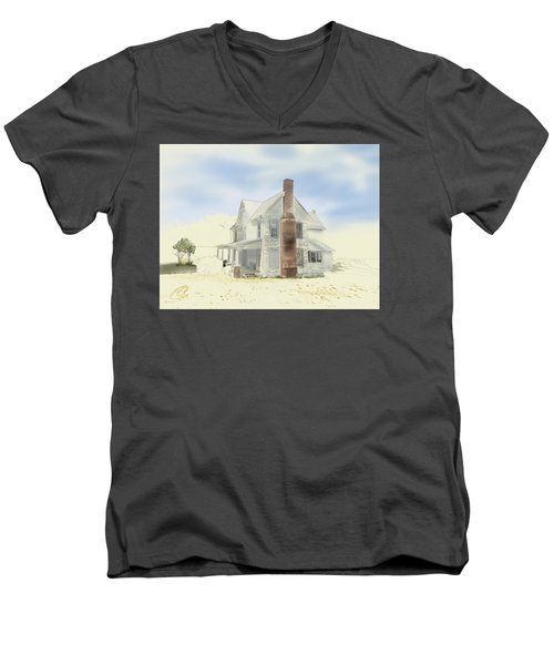 Men's V-Neck T-Shirt featuring the painting The Home Place - Silent Eyes by Joel Deutsch
