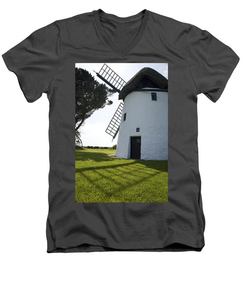 Men's V-Neck T-Shirt featuring the photograph The Old Irish Windmill by Ian Middleton