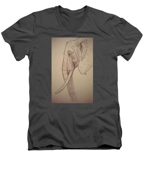 Men's V-Neck T-Shirt featuring the drawing The Old Leader by Jennifer Hotai