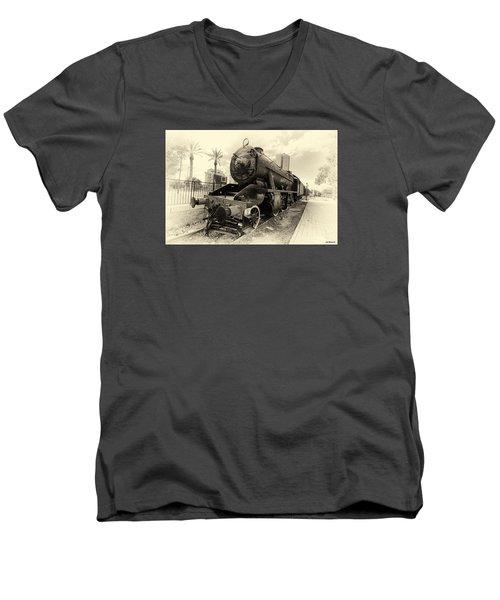 The Old Locomotive Men's V-Neck T-Shirt by Uri Baruch