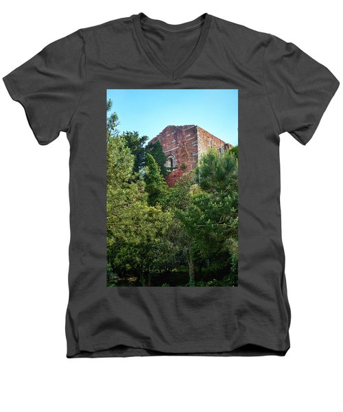 The Old Monastery Of Escornalbou Surrounded By Trees In Spain Men's V-Neck T-Shirt