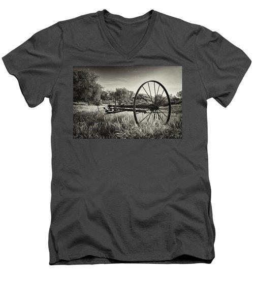 The Old Mower 2 In Black And White Men's V-Neck T-Shirt