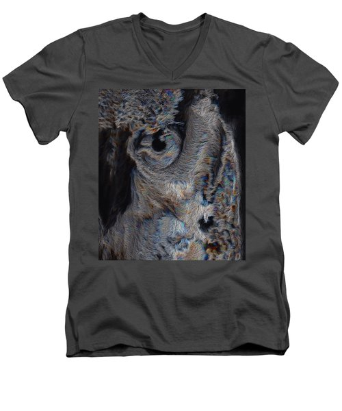 The Old Owl That Watches Men's V-Neck T-Shirt by ISAW Gallery