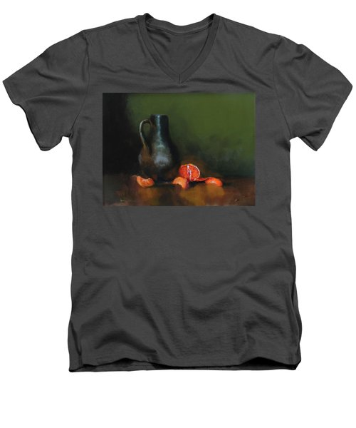 Men's V-Neck T-Shirt featuring the painting The Old Stoneware Mug by Barry Williamson