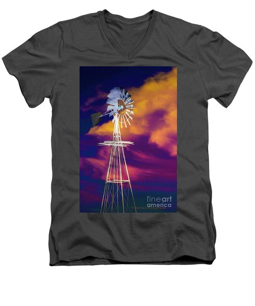 The Old Windmill  Men's V-Neck T-Shirt by Toma Caul