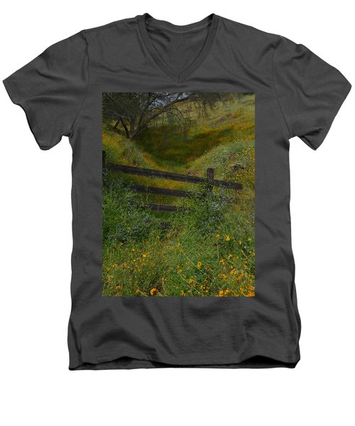 Men's V-Neck T-Shirt featuring the photograph The Old Wooden Fence by Debby Pueschel