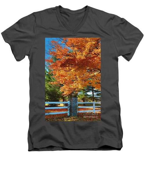 Men's V-Neck T-Shirt featuring the photograph The Old Yard Light by Robert Pearson