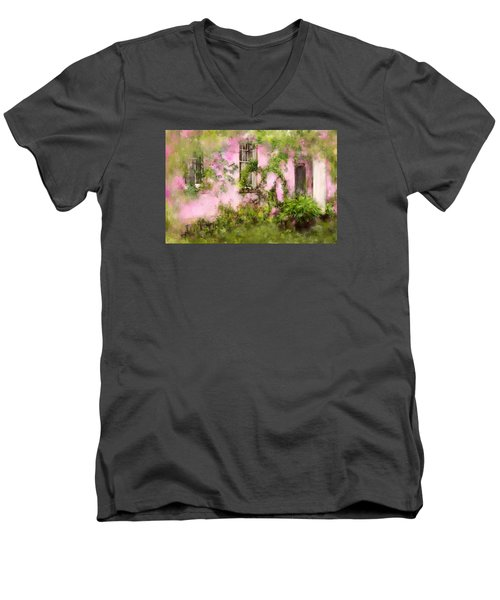 The Olde Pink House In Savannah Georgia Men's V-Neck T-Shirt by Carla Parris