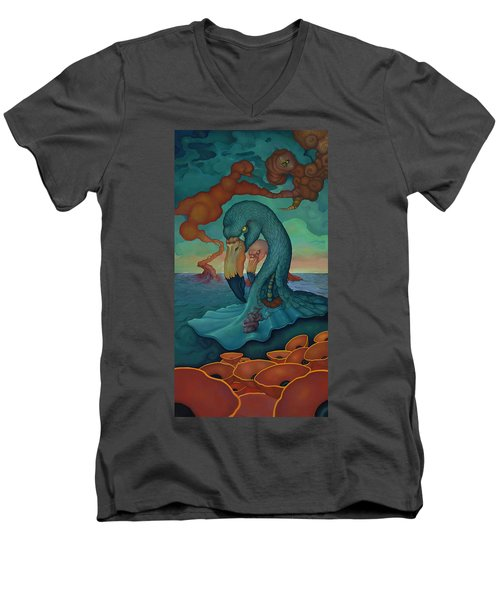 Men's V-Neck T-Shirt featuring the painting The Only Thing That Will Have Mattered by Andrew Batcheller