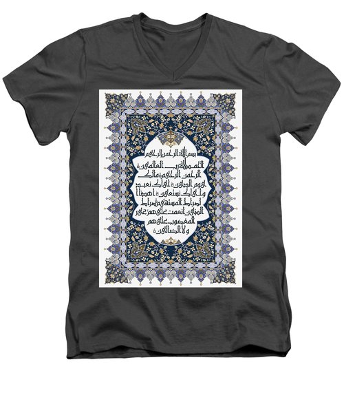Men's V-Neck T-Shirt featuring the painting The Opening 610 3 by Mawra Tahreem