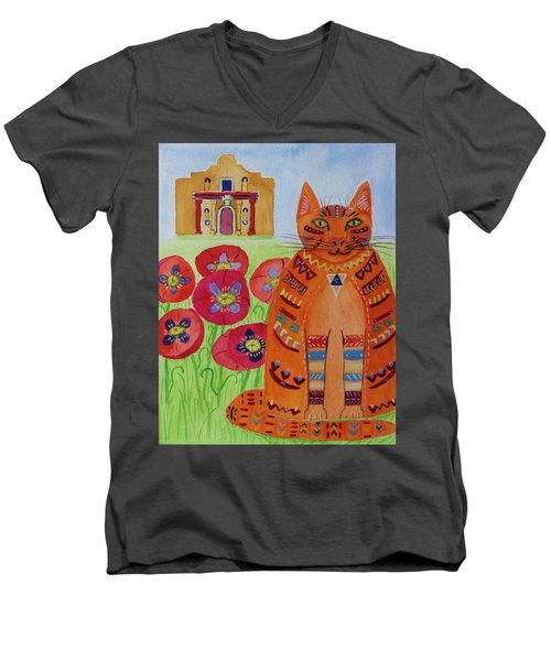 the Orange Alamo Cat Men's V-Neck T-Shirt