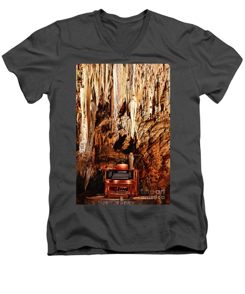 Men's V-Neck T-Shirt featuring the photograph The Organ In The Cavern by Paul Ward