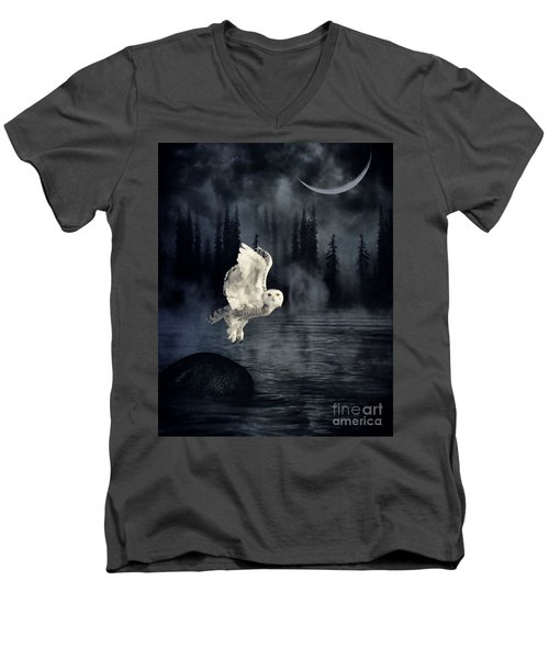 The Owl And Her Mystical Moon Men's V-Neck T-Shirt by Heather King