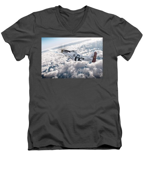 The P-51 Mustang Men's V-Neck T-Shirt by David Collins