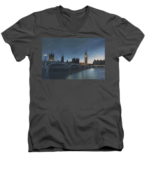 The Palace Of Westminster London Oil On Canvas Men's V-Neck T-Shirt