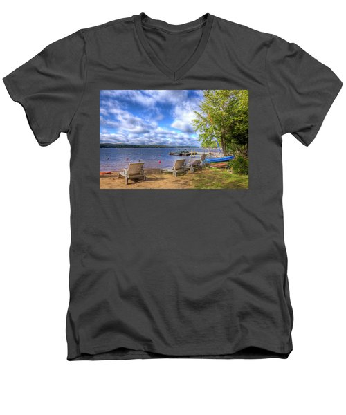 Men's V-Neck T-Shirt featuring the photograph The Palmer Point Beach by David Patterson