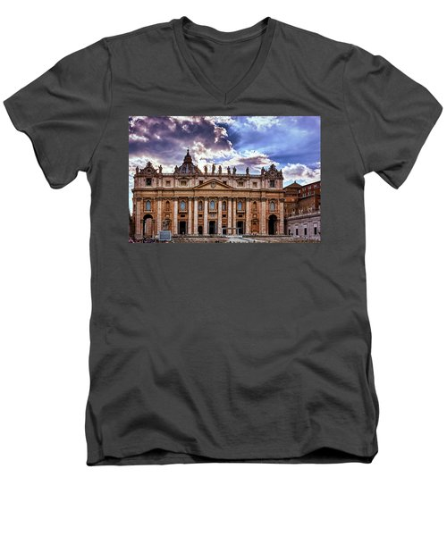 The Papal Basilica Of Saint Peter Men's V-Neck T-Shirt