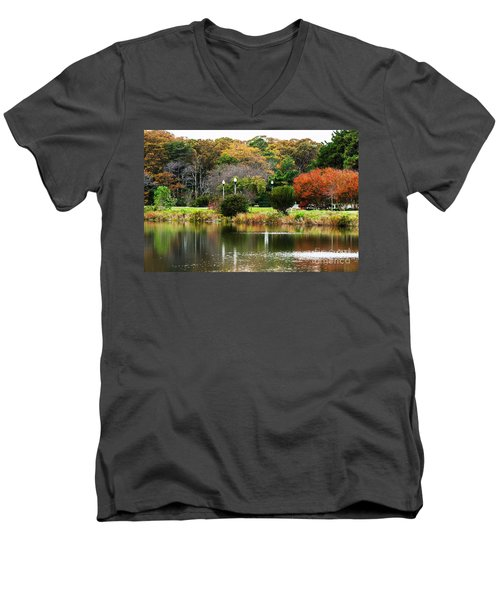 The Park Men's V-Neck T-Shirt by Judy Wolinsky