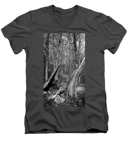 The Path Through The Woods Bandw Men's V-Neck T-Shirt