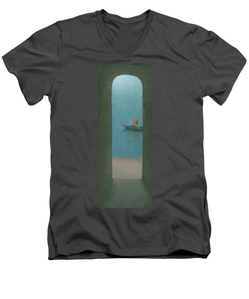 The Peach Parasol Men's V-Neck T-Shirt by Steve Mitchell