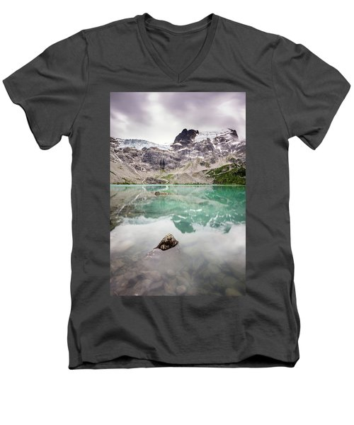 Men's V-Neck T-Shirt featuring the photograph The Peak In A Turquoise Lake by Pierre Leclerc Photography