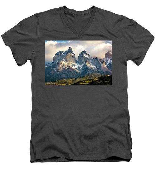 Men's V-Neck T-Shirt featuring the photograph The Peaks At Sunrise by Andrew Matwijec
