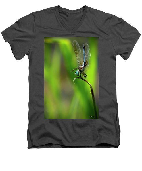 Men's V-Neck T-Shirt featuring the photograph The Performer Dragonfly Art by Reid Callaway