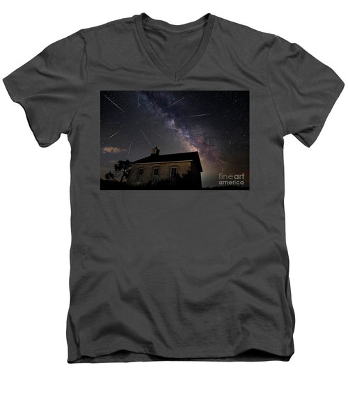 The Perseid Meteor Shower At Lower Fox Creek School  Men's V-Neck T-Shirt by Keith Kapple