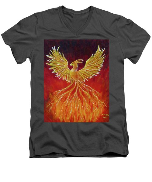 Men's V-Neck T-Shirt featuring the painting The Phoenix by Teresa Wing