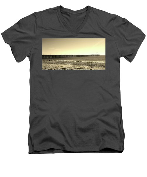 The Pier Men's V-Neck T-Shirt by Mary Ellen Frazee