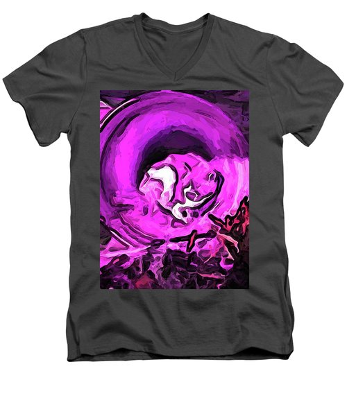 The Pink Cat In The Pink Pot Men's V-Neck T-Shirt