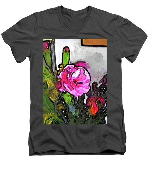 The Pink Flower With The Burgundy Buds Men's V-Neck T-Shirt