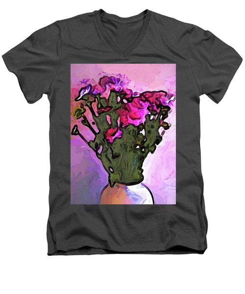 The Pink Flowers With The Long Stems In The Vase Men's V-Neck T-Shirt